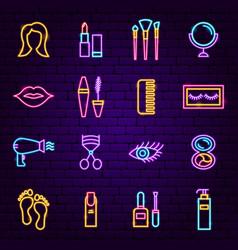cosmetics neon icons vector image