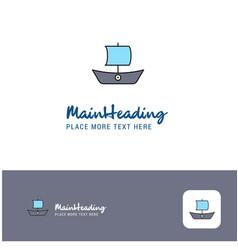 creative boat logo design flat color logo place vector image