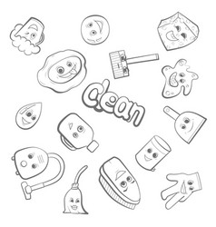 Cute items for clean up vector