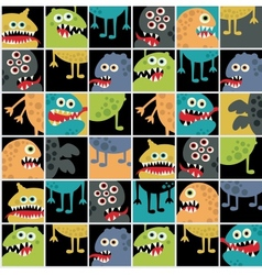 Cute monsters seamless texture with windows vector