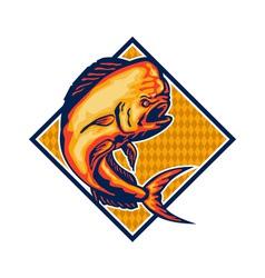 Dorado Dolphin Fish Mahi-Mahi Retro vector