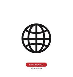 earth grid icon web symbol vector image