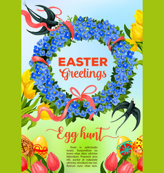 easter egg hunt poster with egg and flower wreath vector image