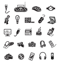 Electronics icon set black sign on white vector
