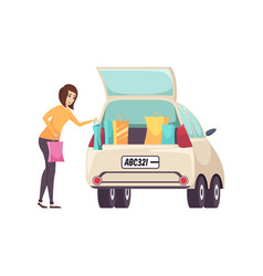 female shopaholic woman with bags and car vector image