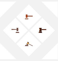 flat icon hammer set of government building legal vector image