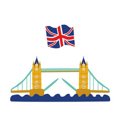 flat tower bridge united kingdom union jack vector image