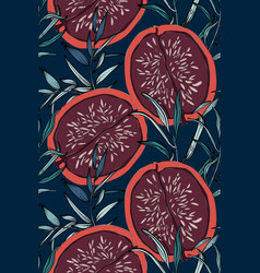 floral pattern leaves and red pomegranate fig vector image