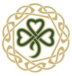 Four-leaf clover in vintage retro style irish vector