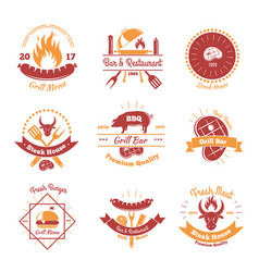 Fresh bbq emblems collection vector
