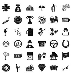 gambling icons set simple style vector image