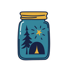Glass jar with camping tent inside a tent under vector