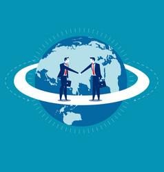 Global business businessmen greet man concept vector