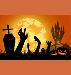 halloween on sunset backgroundfull moon vector image