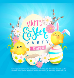 Happy easter party invitation card vector