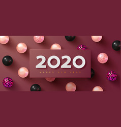 Happy new year 2020 holiday background with white vector