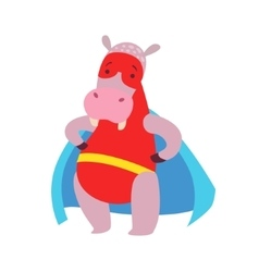 Hippo Animal Dressed As Superhero With A Cape vector