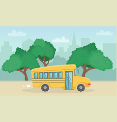 horizontal landscape with yellow school bus vector image