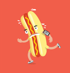 hot dog on the run with smartphone health concept vector image