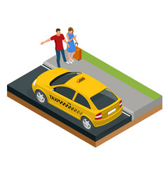isometric concept taxi car traveling people vector image
