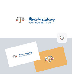 Justice logotype with business card template vector