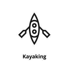 Kayaking line icon vector