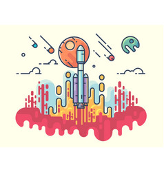 launching rocket into space vector image