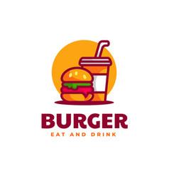 logo burger simple mascot style vector image