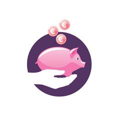 Logo piggy bank vector