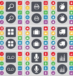 Magnifying glass Printer Apps Apps Suitcase Truck vector