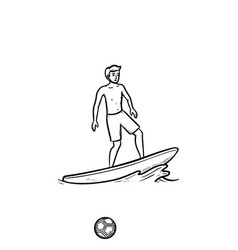 male surfer hand drawn outline doodle icon vector image