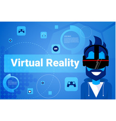 man wear virtual reality glasses modern vr goggles vector image