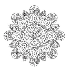 Mandala doodle drawing round ornament ethnic vector