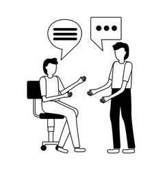 men sitting office chair vector image