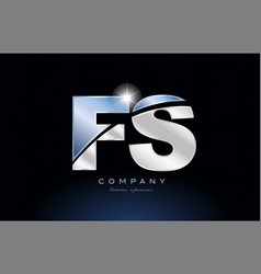 Metal blue alphabet letter fs f s logo company vector