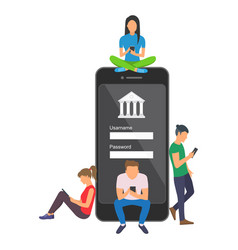 Mobile banking concept of people vector
