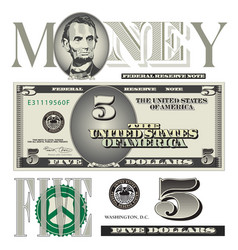 money 5 Dollar vector image