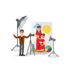 Mother and her daughter posing in photo studio vector