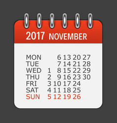 november 2017 calendar daily icon vector image