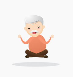 Old meditation concept vector