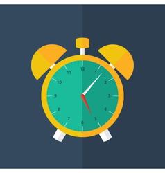 Orange alarm clock icon over blue vector