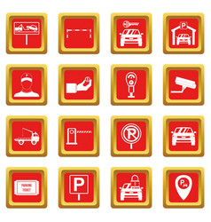 parking set icons set red vector image