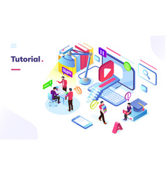 People learning online video tutorial vector