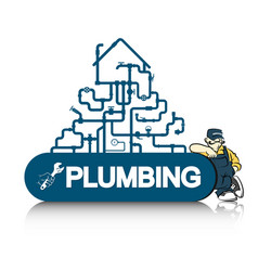 Plumber and pipeline vector