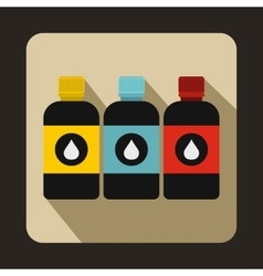 Printer ink bottles icon flat style vector image