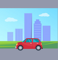Private automobile in city vector