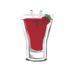 raspberry cocktail hand drawn in sketch retro vector image