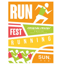 Run fest colorful poster template for sport event vector