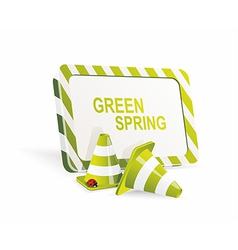 Safety cones with spring banner vector