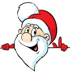 Santa Claus peeking around a white background vector image